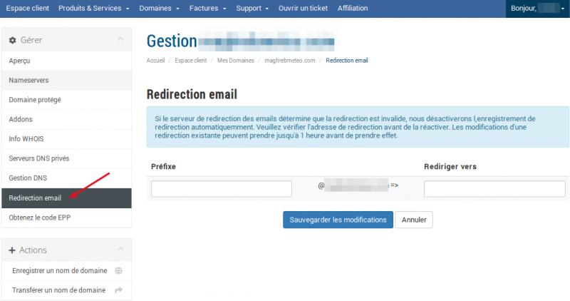 Redirection des emails